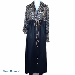 Vintage Vanity Fair 70's Dressing Gown Leopard Sm
